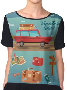 Family Vacation Time. Active Summer Holidays by Car Chiffon Top