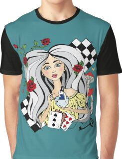 alice with a White rabbit Graphic T-Shirt
