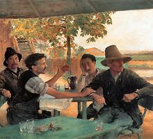 La Discussion politique by emile Friant 1889 by Old-Time-Images