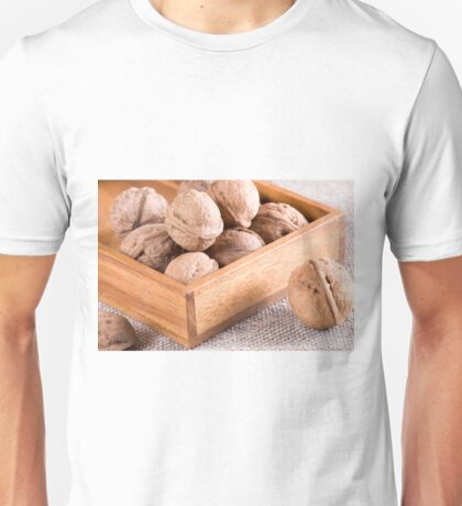 Macro view of walnuts close up in a wooden box Unisex T-Shirt