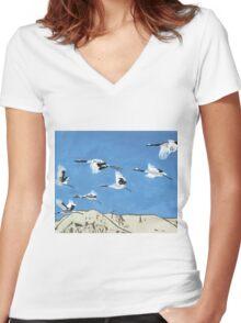 Flight Patterns Women's Fitted V-Neck T-Shirt