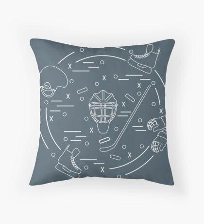 Vector illustration of various subjects for hockey arranged in a circle. Including icons of helmet, gloves, skates, goalkeeper mask, hockey stick, puck.  Throw Pillow