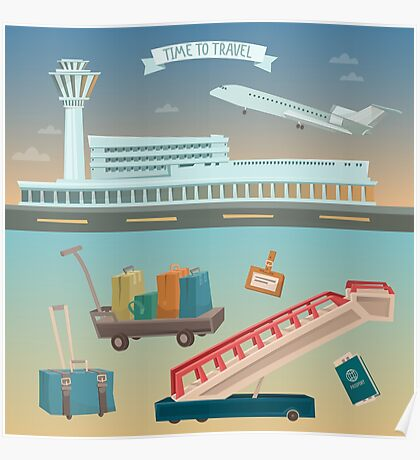 Time to Travel by Airplane. Airport with Plane and Different Travel Elements Poster