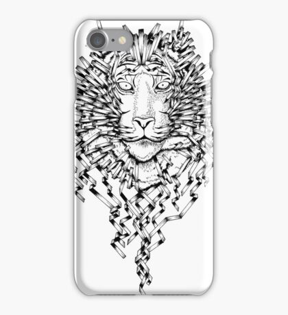Origami Lines Tiger Black and White iPhone Case/Skin