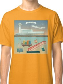 Time to Travel by Airplane. Airport with Plane and Different Travel Elements Classic T-Shirt