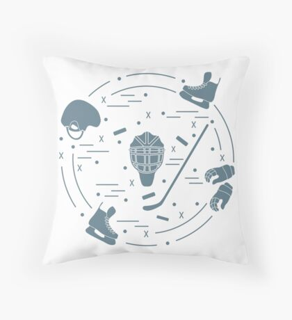 Vector illustration of various subjects for hockey. Including icons of helmet, gloves, skates, goalkeeper mask, hockey stick, puck.  Throw Pillow