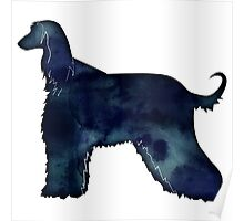 Afghan Hound Black Watercolor Dog Breed Silhouette Poster
