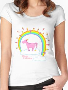 Magical unicorn creates ice cream Women's Fitted Scoop T-Shirt