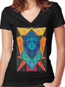 Gemmed Geometrices Women's Fitted V-Neck T-Shirt