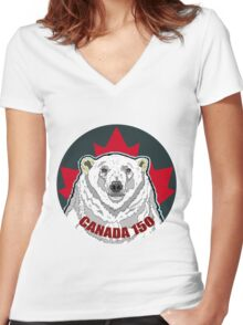 Polar Bear Women's Fitted V-Neck T-Shirt