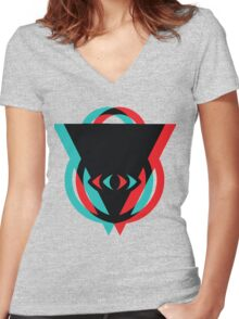 Eye 3D See You Women's Fitted V-Neck T-Shirt