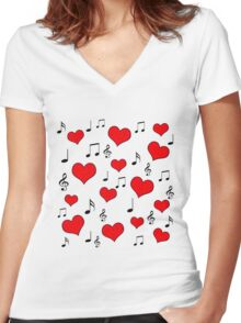 Love song Women's Fitted V-Neck T-Shirt