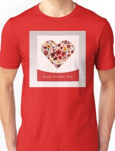 Happy Valentine's Day Greeting Card with Heart of Flowers Unisex T-Shirt