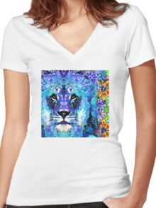 Beauty And The Beast - Lion Art - Sharon Cummings Women's Fitted V-Neck T-Shirt