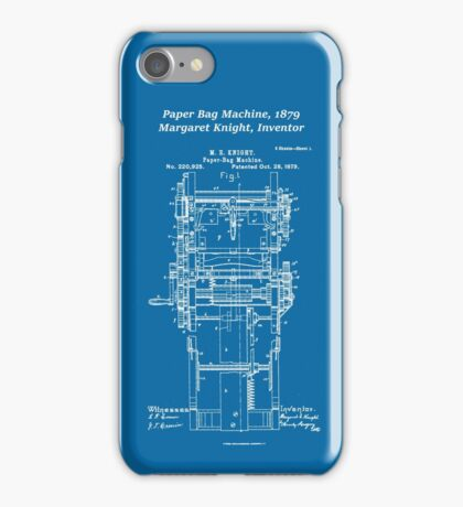 Margaret Knight, Inventor of the Paper Bag Machine - blueprint iPhone Case/Skin