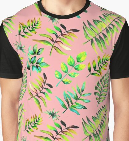 Watercolor leaves pattern - pink background Graphic T-Shirt