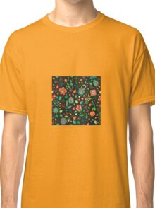 Scattered Flowers dark background Classic T-Shirt