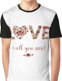 Happy Valentine's Day Greeting Card with Floral Love Graphic T-Shirt