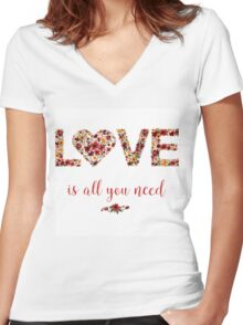 Happy Valentine's Day Greeting Card with Floral Love Women's Fitted V-Neck T-Shirt