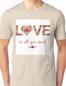 Happy Valentine's Day Greeting Card with Floral Love Unisex T-Shirt