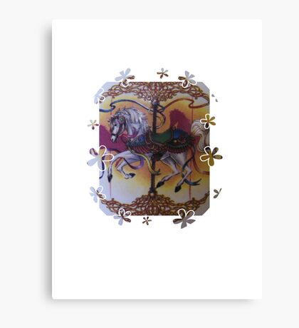 Horse and Carousel Flowers Canvas Print