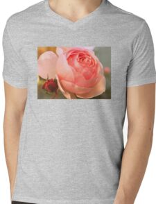 Old Fashioned Pink Rose With Bud Mens V-Neck T-Shirt