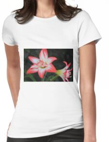 Red and white Lily Womens Fitted T-Shirt