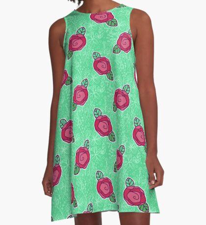 Pink Rose Green Floral Pattern A-Line Dress