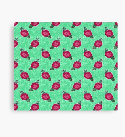 Pink Rose Green Floral Pattern Canvas Print