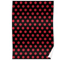 Polkadots Black and Red Poster