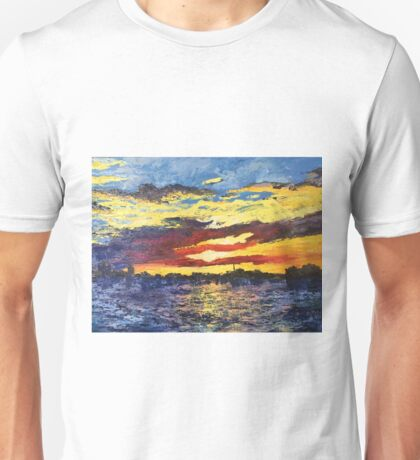 Original Artwork by Tiffany Aron Sunset Younkers New York Unisex T-Shirt