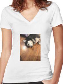 Husky relaxing Women's Fitted V-Neck T-Shirt
