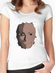 Saitama Face Epression (One Punch Man Anime) Women's Fitted Scoop T-Shirt