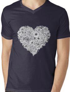 Heart Made of Flowers Mens V-Neck T-Shirt