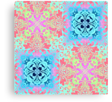 modern Colorful Bohemian Paisley damask swirls Canvas Print