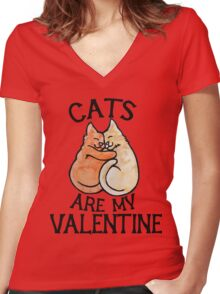 Cats Are My Valentine Women's Fitted V-Neck T-Shirt