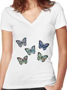 Cute Patterned, Flying Butterflies Pack of 5 Women's Fitted V-Neck T-Shirt