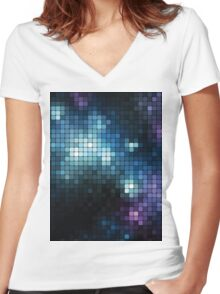 dotted galaxy Women's Fitted V-Neck T-Shirt