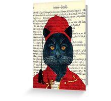 Original Greek Cat Art Print Greeting Card