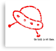 RED SAUCER (FADED) TRUTH IS OUT THERE Canvas Print