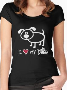 Love My Dog: White Women's Fitted Scoop T-Shirt