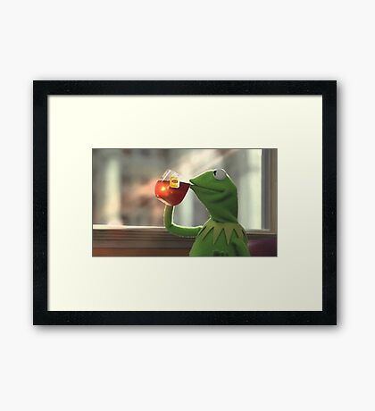 Kermit sipping tea Framed Print