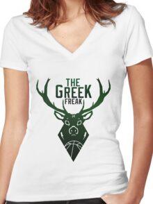 The Greek Freak Women's Fitted V-Neck T-Shirt