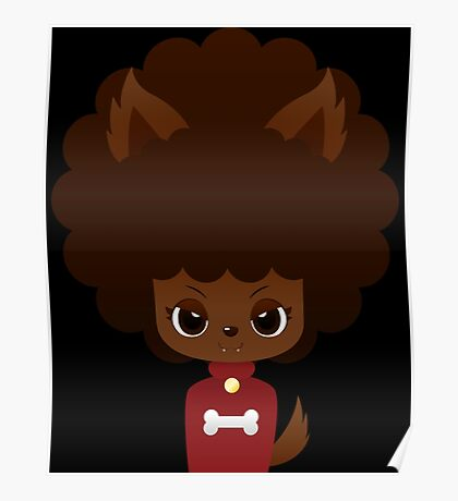 Werewolf Afro Girl With Bone Poster