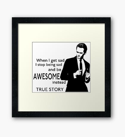 himym Barney Stinson Suit Up Awesome Framed Print