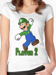 Luigi Player Two Women's Fitted Scoop T-Shirt