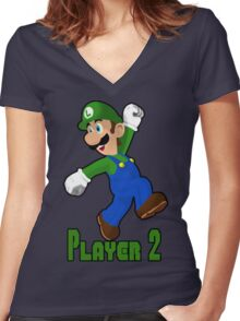 Luigi Player Two Women's Fitted V-Neck T-Shirt