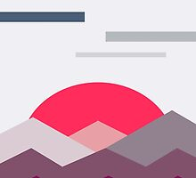 Abstract minimalistic landscape sunset by I am  Loudness