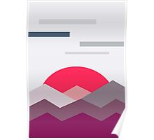 Abstract minimalistic landscape sunset Poster