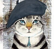 Charming French Cat in Paris. Perfect for cat lovers. by timelessfancy